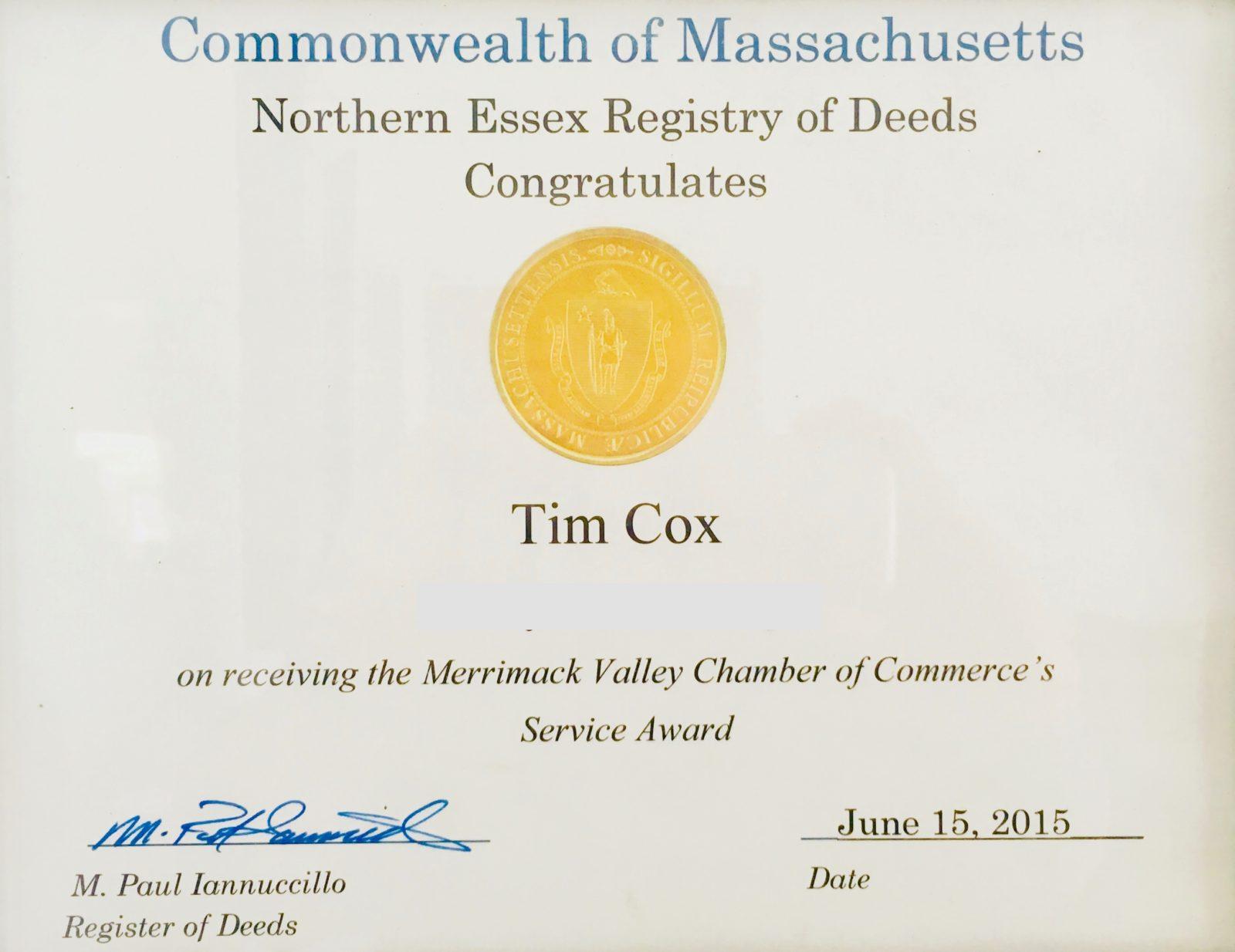Merrimack Valley Chamber of Commerce's Service Award