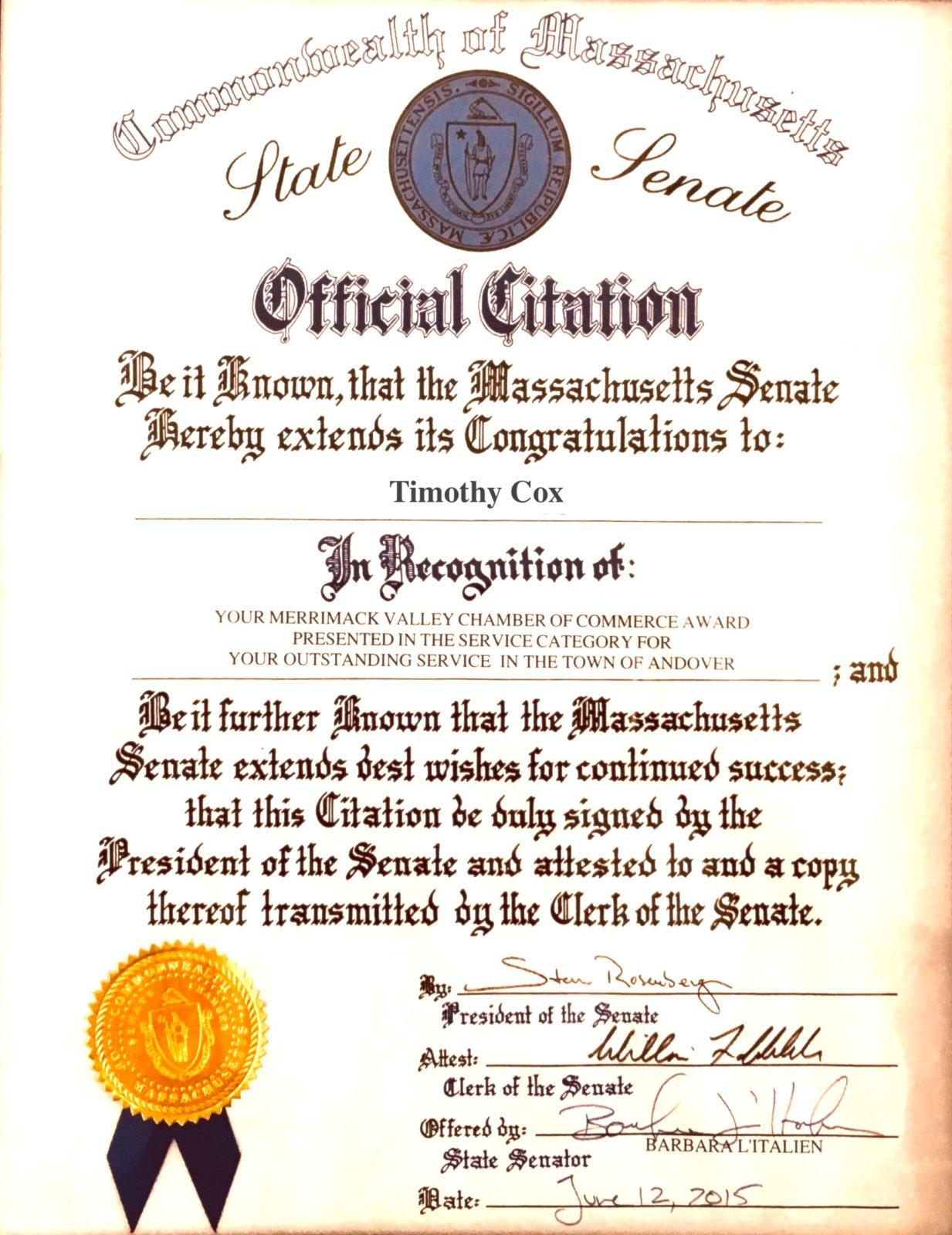 State Senate Official Citation